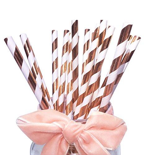 BOFA Glänzende Papier Trinkhalme mit Rosegoldenen Streifen für Hochzeiten und Geburtstage, Papiertrinkhalme für Party-Tischdekorationen, Festivals, Events, 100 Stück