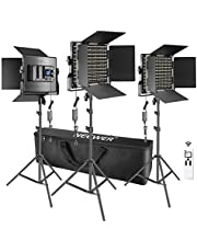 Neewer 3 Packs Advanced 2.4G 660 LED Video Light Photography Lighting Kit, Dimmable Bi-Color LED Panel with LCD Screen, 2.4G Wireless Remote and Light Stand for Portrait Product Photography