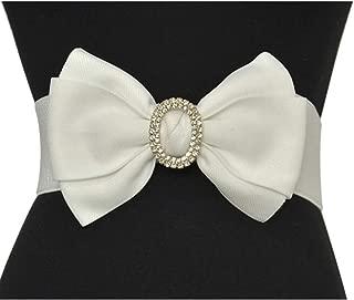Ladies elastic girdle fashion bow rhinestone inlaid decorative girdle (Color : White, Size : 75cm)