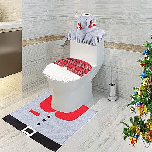 LINXYU Alfombrilla de baño de Papá Noel para el hogar Alfombra de Asiento de Inodoro de Navidad Alfombra de Asiento de Inodoro de Santa para decoración de Navidad como Muestra, 1