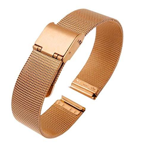 15 Mm 16 Mm 18 Mm Correa De Reloj De Metal Malla Correas De Pulsera De Reloj De Acero Inoxidable Para Hombres Mujeres,Rosegold-18mm