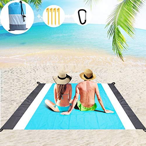 Gadom Picknickdecke, 210 x 200cm Stranddecke wasserdichte sanddicht Strandmatte Camingmatte mit 4 festen Nägeln für Strand, Camping und Picknick