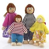 YeahiBaby Juego de 4 muñecas familiares de madera, con 4 personas, para casa de muñecas