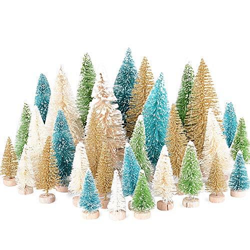 MEJOSER 32pcs Mini árbol de Navidad Pequeño Artificial en Miniatura Nevado Pino Cedro de Sisal 12,5cm 8,5cm 6,5cm 4,5cm Decoración Fiesta Navidad Adornos Navideños Manualidades Ornamentos de Navidad