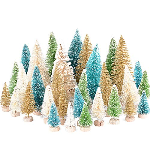 MEJOSER 32 Stück Weihnachtsbaum Künstlich Miniatur Klein Mini Grün Tannenbaum mit Schnee-Effek Weihnachtsdeko 4.5cm 8.5cm 12.5cm Christbaum für Tischdeko, DIY, Schaufenster (4Farbe)