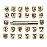 """OwnMy Capital Letters Stamp Set, 1/2"""" / 13mm Alphabet Stamp Tools Set Leather Craft Stamping Tools Leather Art Craft Tool (13mm - 27pcs)"""