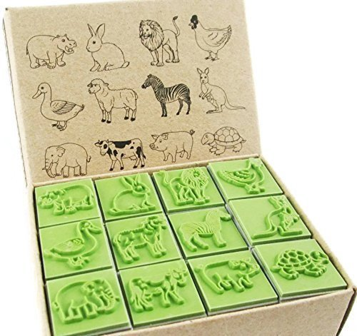 Np Crafts 12 Kids Rubber Stamp Animals Zoo Wild Africa Stamps Set (CR020)