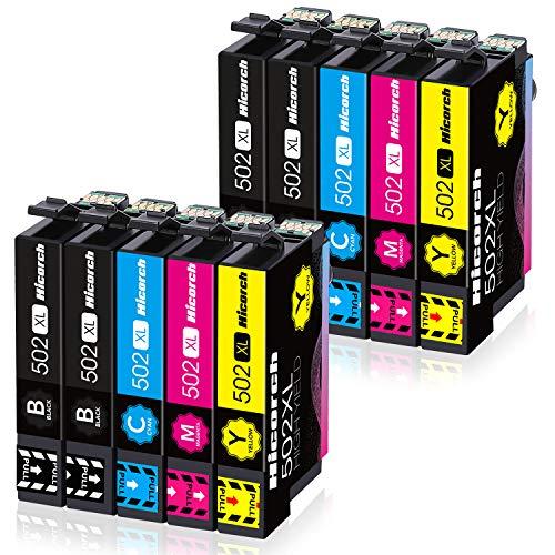 Hicorch 502XL Cartucce d'inchiostro Compatibile con Cartucce Epson 502 XL Multipack per Epson Expression Home XP-5100 XP-5105 WorkForce WF-2860 WF-2865 (4 Nero, 2 Ciano, 2 Magenta, 2 Giallo)