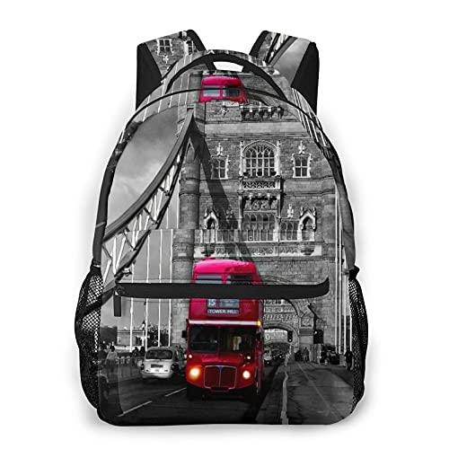 RUPIHU Zaino casual classico,Autobus a due piani rosso sul ponte,Borsa per libri da scuola universitaria con zainetto per computer aziendale
