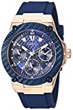 GUESS Women's Stainless Steel Silicone Watch, Color: Blue/Ro