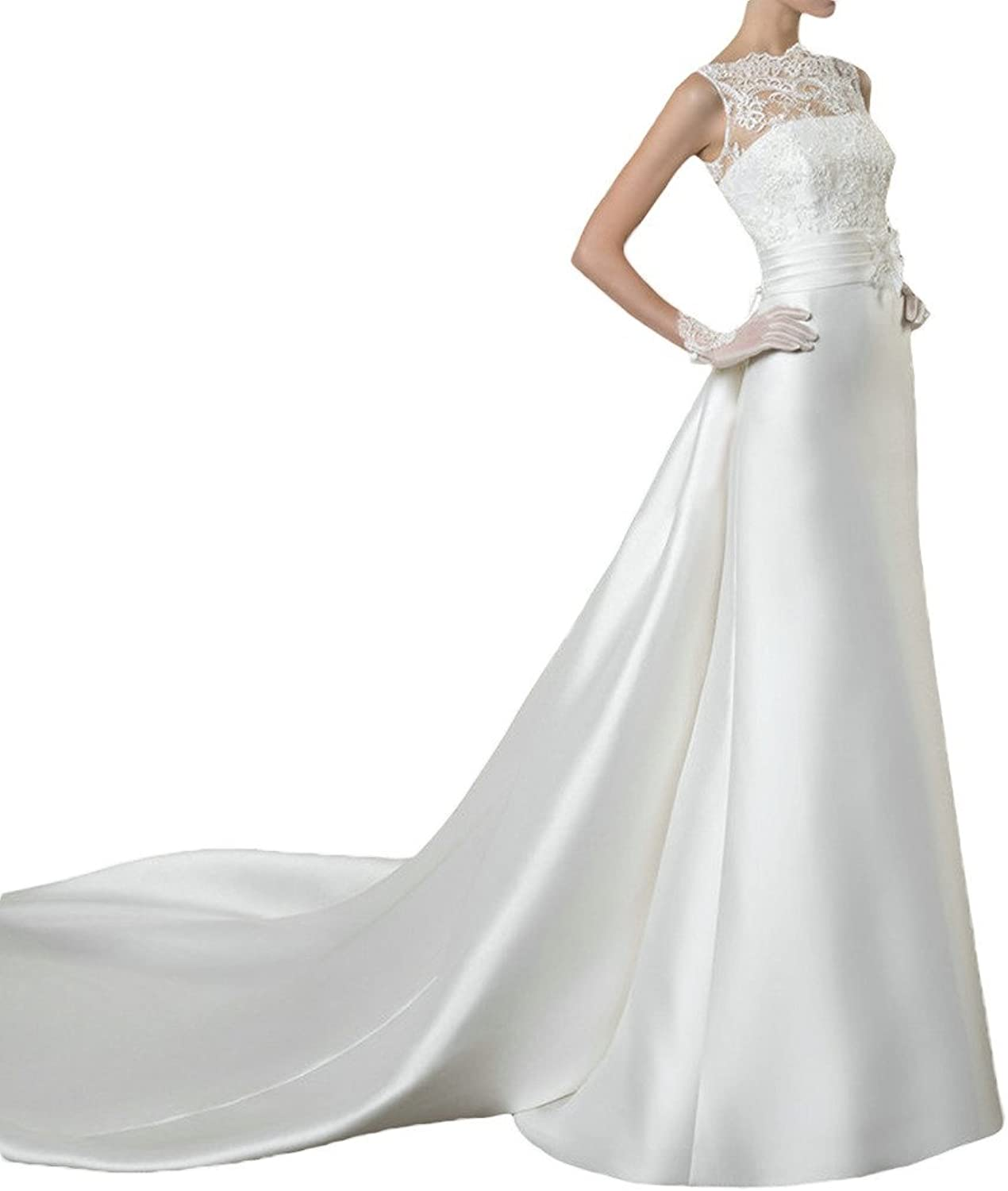 Avril Dress Satin and Lace Covered Button Bateau Bow Wedding Dress with Watteau