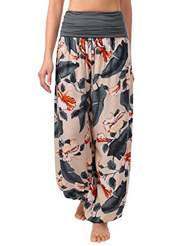 BAISHENGGT Women's Print Elastic Waist Harem Pants One Size Apricot-Flower