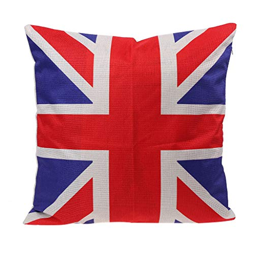 Selma. 16' Pillow Cases UK Flag Square Union Jack Linen Home Decorative Cushion Cover for Couch Sofa Car Coffee Shop Decor