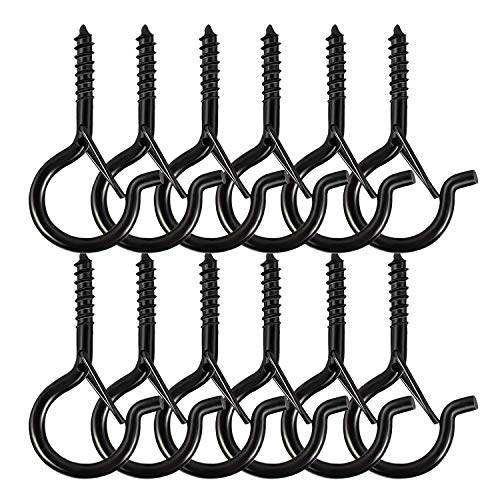 12 Pack Ceiling Hooks with Safety Buckle, 2.2 Inch Screw Hooks for Hanging Plants & Outdoor String Lights, Wall Hangers & Light Hangers for Party and Festival Decorations, Easy Release