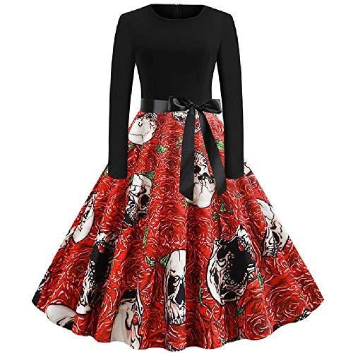 U/A Autumn and Winter Vintage Fashion Print Long Sleeve Swing Dress