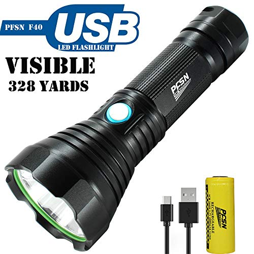 High Lumen USB Rechargeable Flashlight Powerful LED Torch with Long Range Throwing, Portable 26650 Battery Powered Flash Light with 4 Modes Super Bright Searchlight Best for Outdoor or Home Emergency