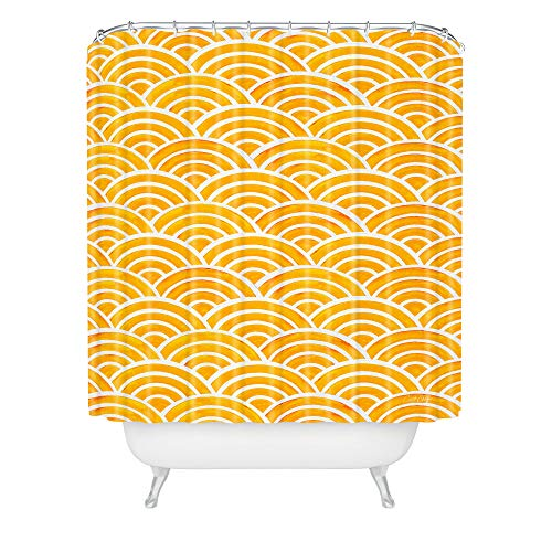 """Society6 Cat Coquillette Japanese Seigaiha Marigold Shower Curtain, 72"""" x 69"""" x 0.1"""", Yellow"""