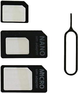 Nano SIM MicroSIM 変換アダプタ 4点セット ホワイト For iPhone 5 4S 4 ナノシム→SIMカードorMicroSIM MicroSIM→SIMカード+ SIMピン (ホワイト)