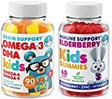 Immune Support - Brain Booster - Heart & Vision Supplement for Kids and Toddlers - Elderberry Gummies with Omega 3 + DHA Gummies – Boost Your Children's Immunity and Support Brain