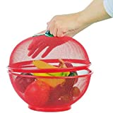 JINMENHUO Cesta de Fruta de Rejilla Plato de Fruta de Hierro con Tapa Cestas de desagüe para lavavajillas de Cocina Decoración de Mesa para el hogar, Rojo