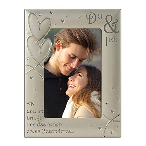 "You & Me, Du & Ich, Paar, Romantik, Versilbert, Samt hinterlegt, Bilderrahmen, Silberherzen und Kristalldesign, ""Ab und an bringt uns das Leben etwas Besonderes…"" Freund Freundin Liebe,"