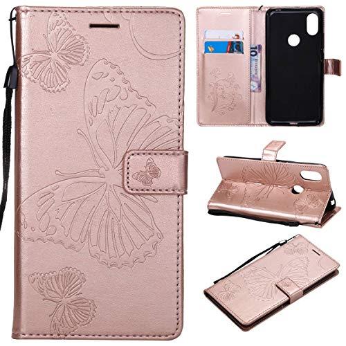 tinyue® Para Xiaomi Redmi S2 Funda, Cubierta de Billetera de Cuero PU Tapa abatible Funda, con Ranura Tarjeta, Hebilla magnética, Mariposa 3D Cover, Rosa Oro