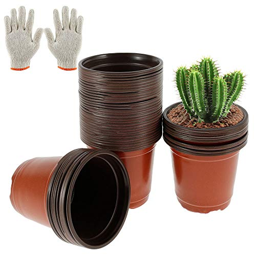 50 Pcs Nursery Pots for Plants Plastic Plant Pots 10 cm Seedling Pots Flower Plant Container Seed Tray Starter Pots Planting Nursery Planter Home Decor with a Pair of Gloves