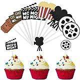 Cake Topper 12 Piezas Decoración para Tartas, Película Noche Fiesta, Hollywood, Cine Decoración para Fiestas Temáticas de Películas, Fiestas de Cumpleaños, Fiestas de Graduación