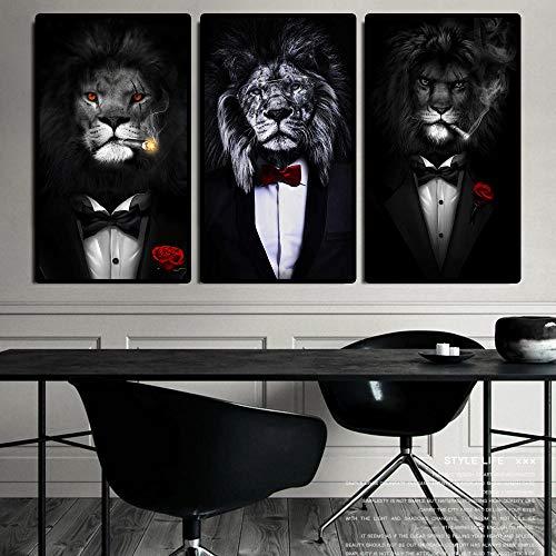 Affiche de costume de lion sauvage noir Lion fumant un cigare Murale Art Tableaux noir blanc Toile tableau peinture salon bureau Decoration murale 50