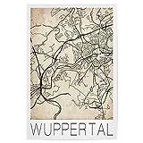 artboxONE Poster 75x50 cm Städte Retro Map Wuppertal