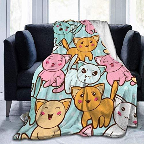 Manta Queen| Elegante y duradera y plegable, diseño de gatos de dibujos animados, cómodo impreso, ultra suave, manta de forro polar, manta de cama de 40 x 50 pulgadas