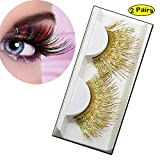 Lookathot 2 Pairs Feather False Eyelashes Eye Lashes- Natural Handmade Reusable Extensional Charming Sexy Funny Ladies Styles- Deluxe Party Stage Dance Costume (#4)
