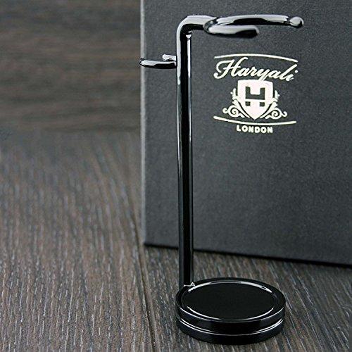 Rasierpinsel & Rasierer. Hergestellt aus Edelstahl mit schwarzer Farbe. Perfekt für alle Arten von Bürsten und Rasierer.