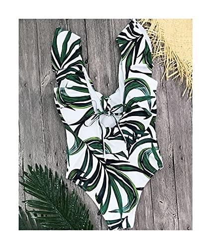 XBSXP Traje de baño para Mujer Traje de baño de una Pieza Traje de baño sin Espalda con Estampado Floral Traje de Playa (Color: E, Talla: XL)