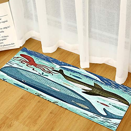 Morbuy Area Rug Non-Slip Large Door Mat Modern Personality 3D Sea Printed Carpet Floor Mat Stair Pads for Kitchen Living Room Bedroom Hallway Bathroom (Sea creatures,50x80cm)