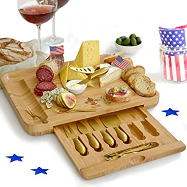 Exquisite Cheese Cutting Board & Knife Set - X-Large Bamboo board (15.75 x13 ) with 6 Stainless Steel gold Brushed Finish Cheese Slicer Tools + 6 Tasting Forks By Elite Creations (Gold)