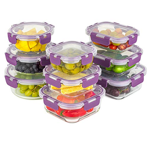 Home Planet Recipientes de Cristal Para Alimentos | Contenedores de Alimentos | Recipiente Cristal | 18 Piezas | Tapas Mejoradas | SIN envases de plástico | Sin BPA | Hermético