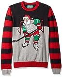 Ugly Christmas Sweater Company Men's Assorted Crew Neck Xmas Sweaters, Black Hockey Santa, L