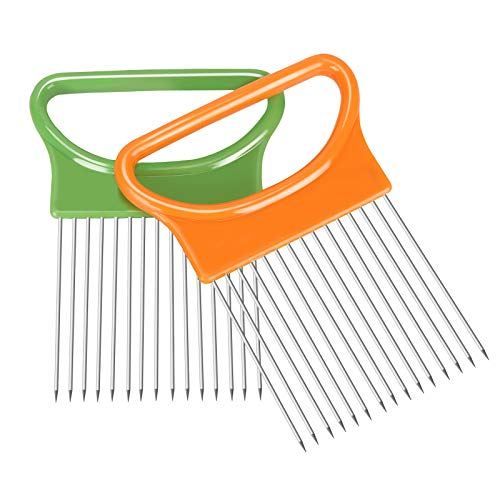 2Pcs Ruooson Onion Holder for Slicing, Stainless Steel Prongs Kitchen Slicer, Lemon Potato Cucumber Cutter Comb,Meat Tenderizer,Green and Orange