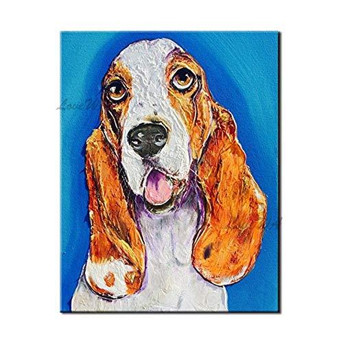 ZNYB Cuadro Lienzo Decoracion Pintura de Perro de opción múltiple 100% Pintado a Mano Arte Animal Pintura al óleo Tallada Obra de Arte Lienzo Cuadros de Pared Arte Animal
