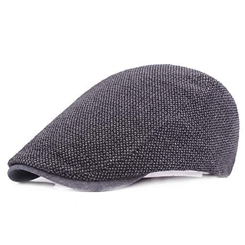 Boina de Los Hombres,Sombrero Masculino Casual Vintage al Aire Libre Clásico,Sombrero de Copa Plano Negro Puro de Algodón,Ajustable, Tamaño 55-60cm.