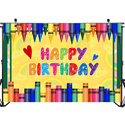 Cartoon Crayon Theme Backdrop Banner for Photography | Colorful Painting Birthday Baby Shower Party Backdrop Background Photo Booth Props Cake Table Decorations Supplies 71 x 49 inch