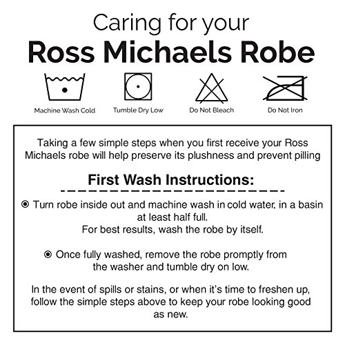 Ross Michaels Mens Plush Shawl Collar Kimono Bathrobe Robe (Navy, L/XL)