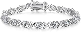 Vibrille Sterling Silver Infinity XO Link Cubic Zirconia Bracelets for Women, 7.5''
