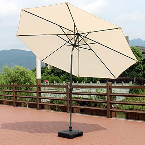 Sombrilla de Playa, 300cm Parasol de Aluminio con Inclinación, con Manivela, Protección UV Filtro 50, Sombrilla con Mástil de Aluminio de 38mm, Adecuado para Balcón, Terraza, Patio Trasero,Beige