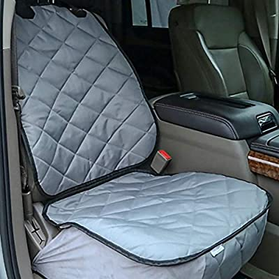 Plush Paws Products Copilot Bucket Car Seat Cover with Seat Belt and Harness (Gray)