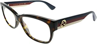 GG 0278O 002 Havana Plastic Rectangle Eyeglasses 53mm