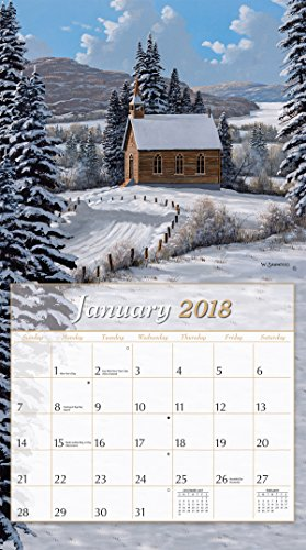 """LANG - 2018 Wall Calendar - """"Country Churches"""", Artwork By Bill Saunders - 12 Month - Open 13 3/8"""" X 24"""" Photo #2"""