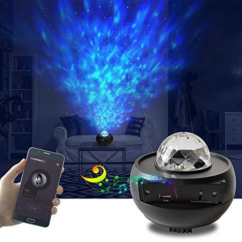 Galapara Sternenhimmel Projektor mit Ferngesteuerter, LED Starry Sky Projector lamp 3 Stufen Helligkeit und 10 Beleuchtungsmodi Unterstützt U-Disk/Kartenleser/BT Music Player und Timer-Funktion