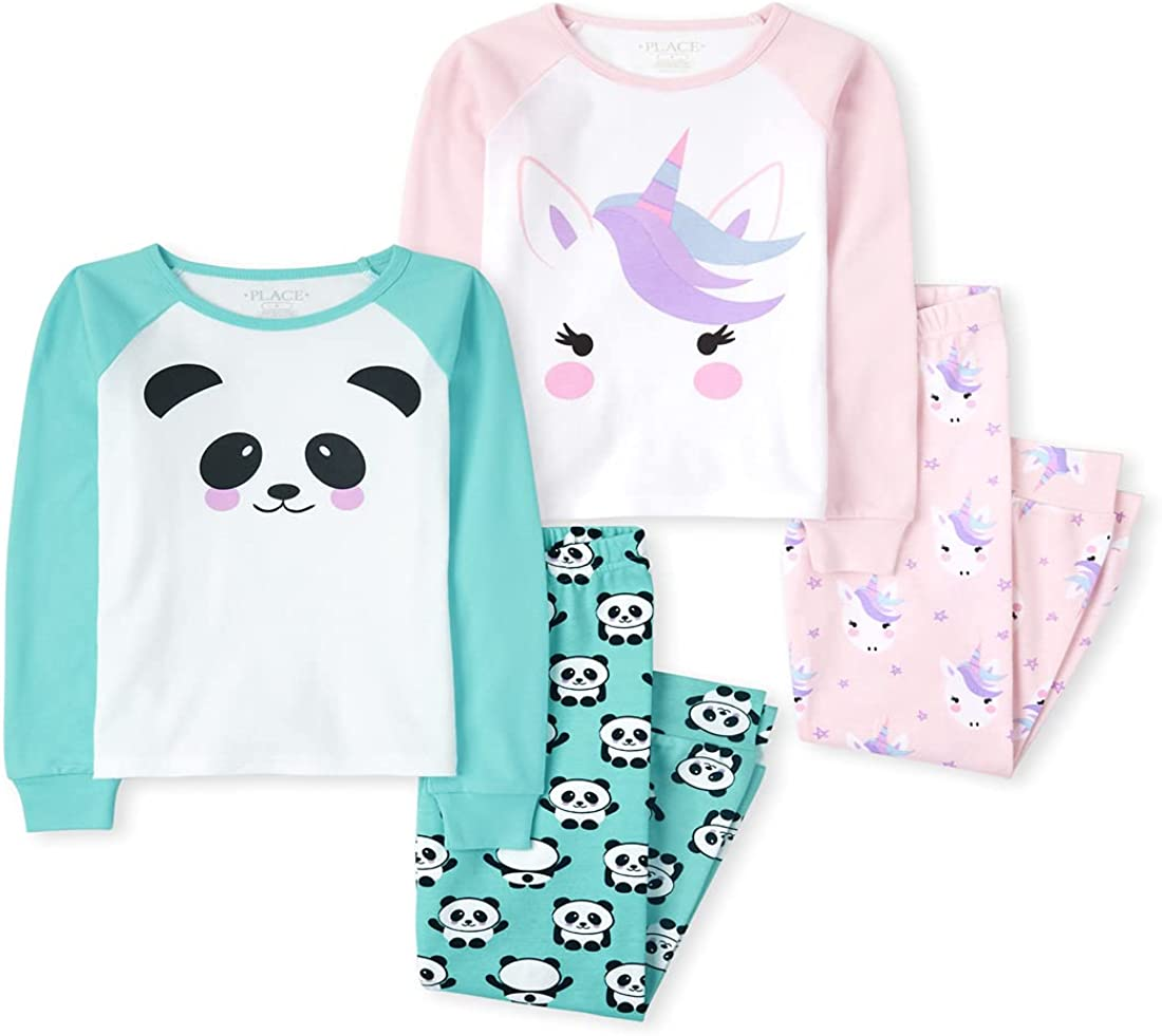 The Children's Place Girls' Unicorn Panda Snug Fit Cotton 4-Piece Pajamas